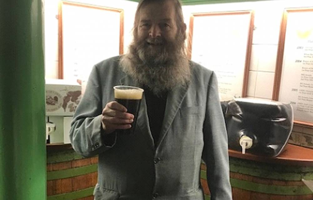 Andy enjoying a pint of Porter in the sample room before heading off for a well earned break